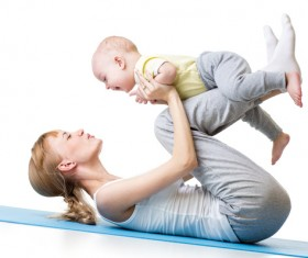 Fitness sport mother and child Stock Photo