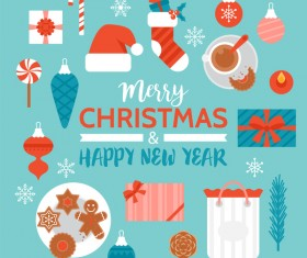 Flat styles christmas with new year design elements vector 01