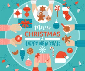 Flat styles christmas with new year design elements vector 02