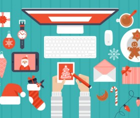 Flat styles christmas with new year design elements vector 03