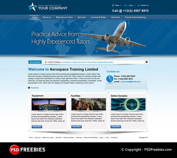 Flight Training Company Website PSD template