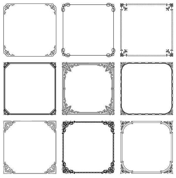 Floral Square Frames Vector 01 Free Download