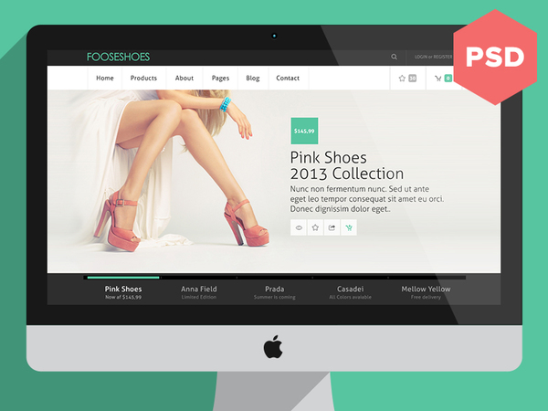Fooseshoes eCommerce Website PSD Template
