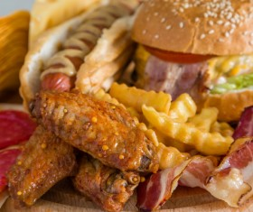 Fried chicken burger fast food Stock Photo