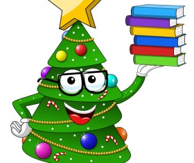 Funny cartoon christmas tree vector 01
