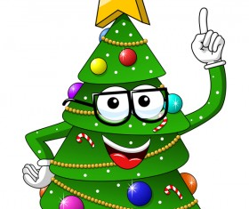 Funny cartoon christmas tree vector 02