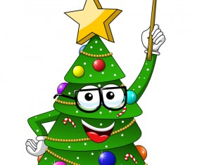 Funny cartoon christmas tree vector 03