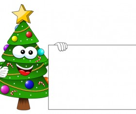 Funny cartoon christmas tree vector 04