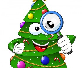 Funny cartoon christmas tree vector 05