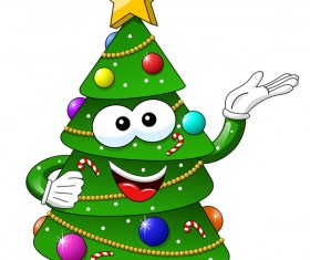 Funny cartoon christmas tree vector 06