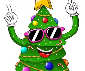 Funny cartoon christmas tree vector 07