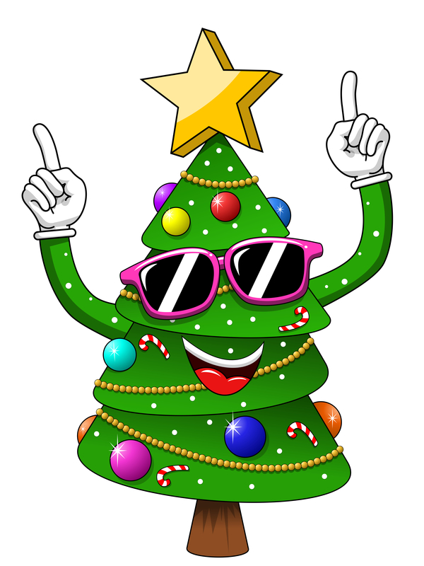 Christmas Tree Vector.Funny Cartoon Christmas Tree Vector 07 Free Download