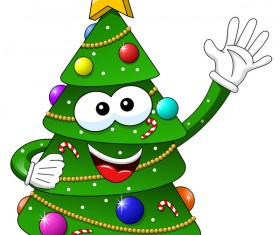 Funny cartoon christmas tree vector 08