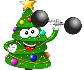 Funny cartoon christmas tree vector 09