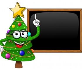Funny cartoon christmas tree with blackboard vector