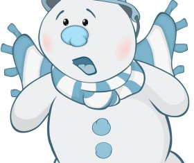 Funny cartoon snowman vector illustration 01