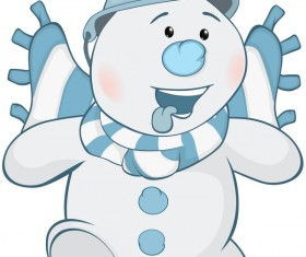 Funny cartoon snowman vector illustration 02