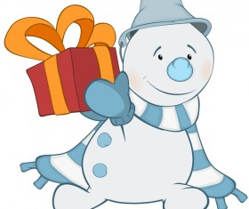 Funny cartoon snowman vector illustration 04