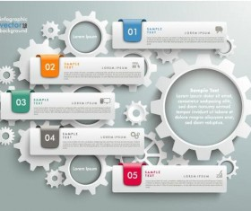 Gear with modern business infographic template vector 03