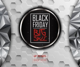 Geometric shape with black friday big sale background vector