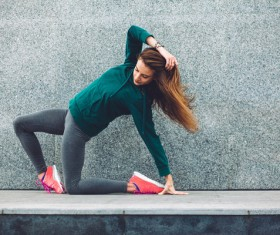 Girl doing exercises and exercising Stock Photo