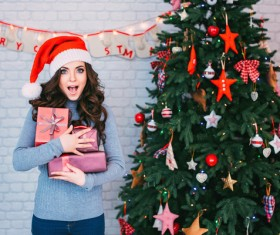 Girl holding gifts happy Stock Photo 01