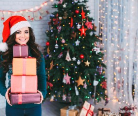 Girl receiving Christmas present Stock Photo 01