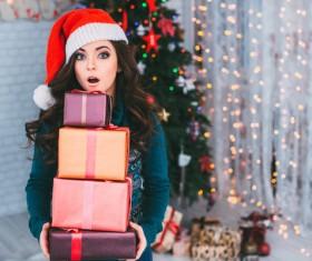Girl receiving Christmas present Stock Photo 02