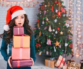 Girl receiving Christmas present Stock Photo 04