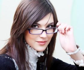 Girl wearing fashion glasses Stock Photo