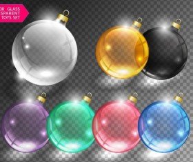 Glass transparent xmas toys vector set