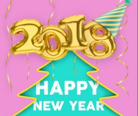 Golden 2018 balloons with new year background vector