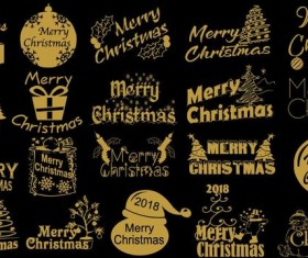 Golden 2018 christmas logos design vector