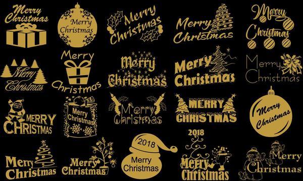 golden 2018 christmas logos design vector - Christmas Logos