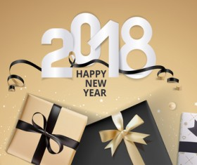 Golden 2018 new year background with gift boxs vector 01