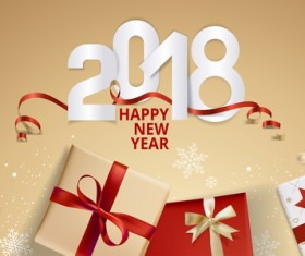 Golden 2018 new year background with gift boxs vector 02