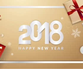 Golden 2018 new year background with gift boxs vector 04