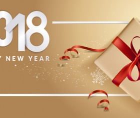 Golden 2018 new year background with gift boxs vector 06