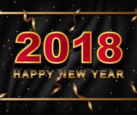 Golden 2018 new year frame with black wavy background vector