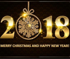 Golden 2018 new year with christmas card vector material