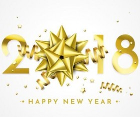 Golden ribbon with 2018 new year background vector