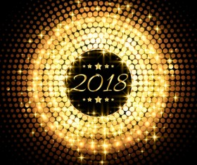 Golden round 2018 new year vector background