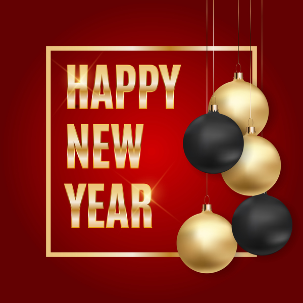 Golden with black ball and red new year background vector