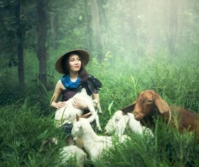 Grazing young girl Stock Photo 03