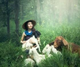 Grazing young girl Stock Photo 03