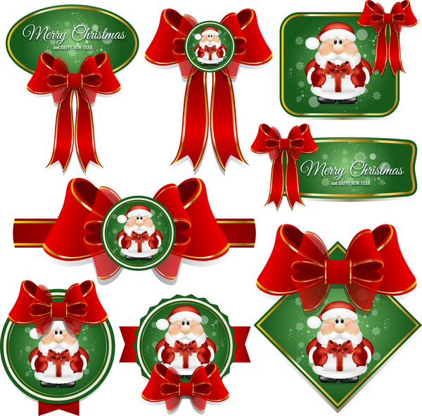 Green chrismtas labels and red bow vector