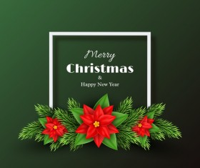 Green christmas with new year background with red flower vector
