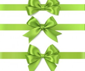 Green ribbon with bows illustration vector