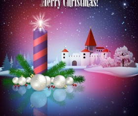 Greeting card with christmas candle and castle vector