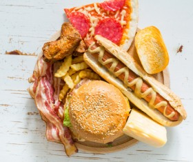 Hamburger pizza sandwich fast food Stock Photo 01